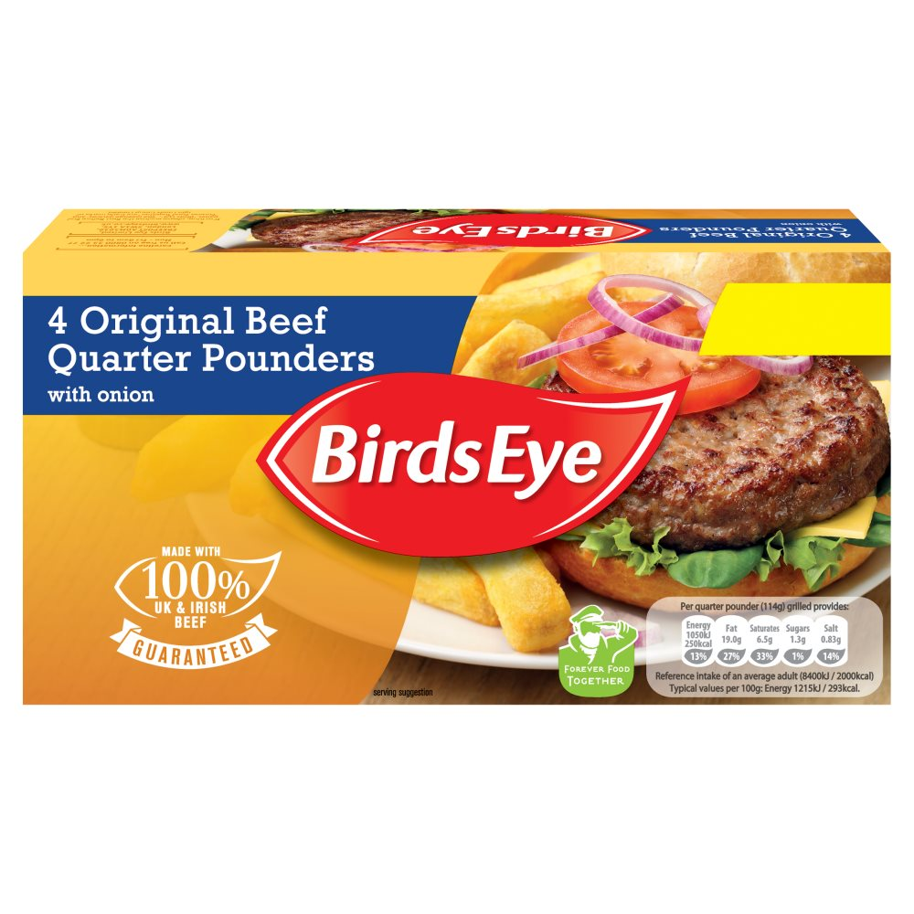 Birds Eye 4 Beef Quater Pounders PM £2.49