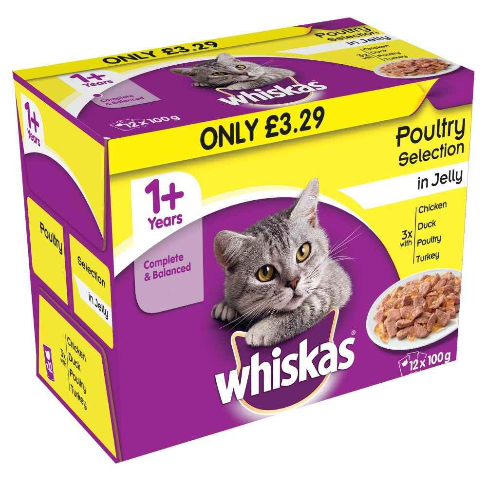 Whiskas Pouch Jelly Poultry 12 Pack PM £3.29