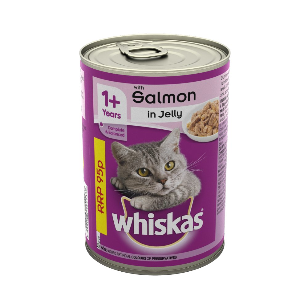Whiskas Adult Wet Cat Food Tin Salmon in Jelly 390g PMP 95p