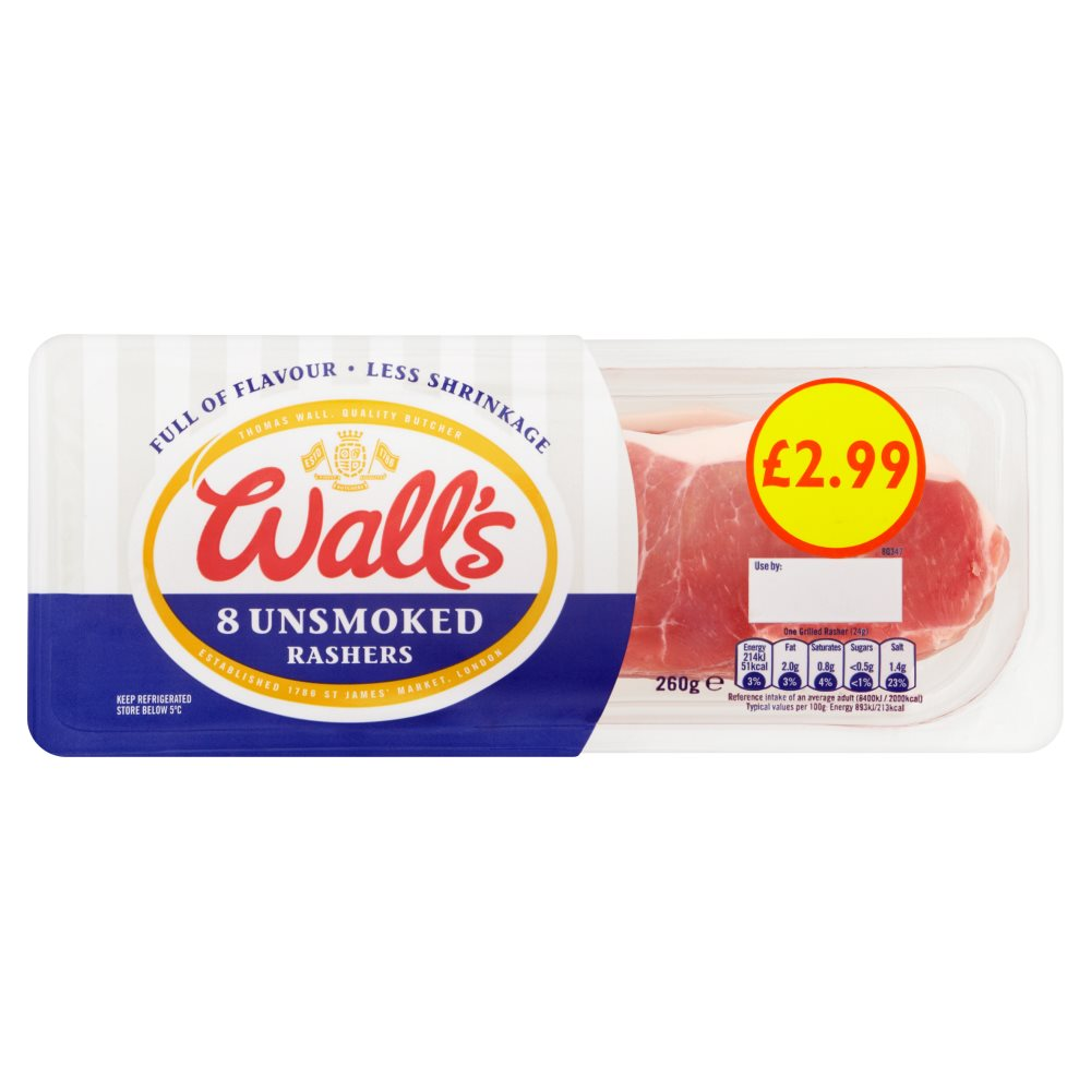 Walls Unsmoked Bacon PM £2.99