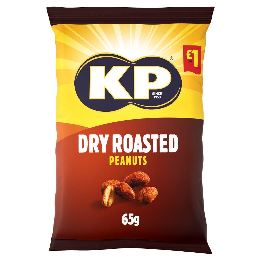 KP Dry Roasted Peanuts 65g, £1 PMP