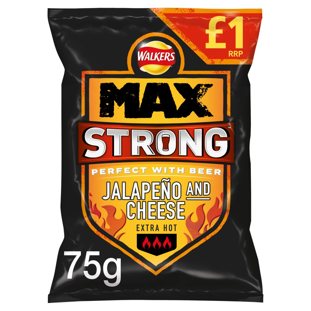 Walkers Max Strong Jalapeño & Cheese Crisps £1 PMP 75g