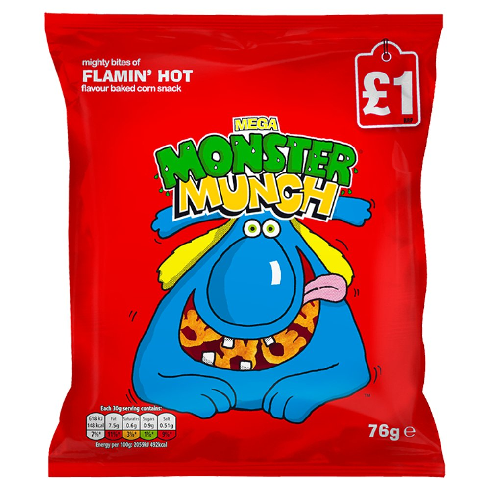 Mega Monster Munch Flamin'hot Snacks PMP £1