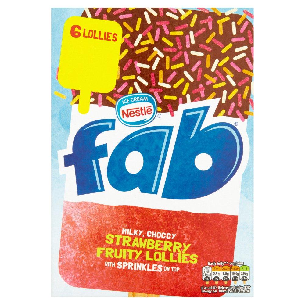 Fab Strawberry Fruity Lollies 6 x 58ml