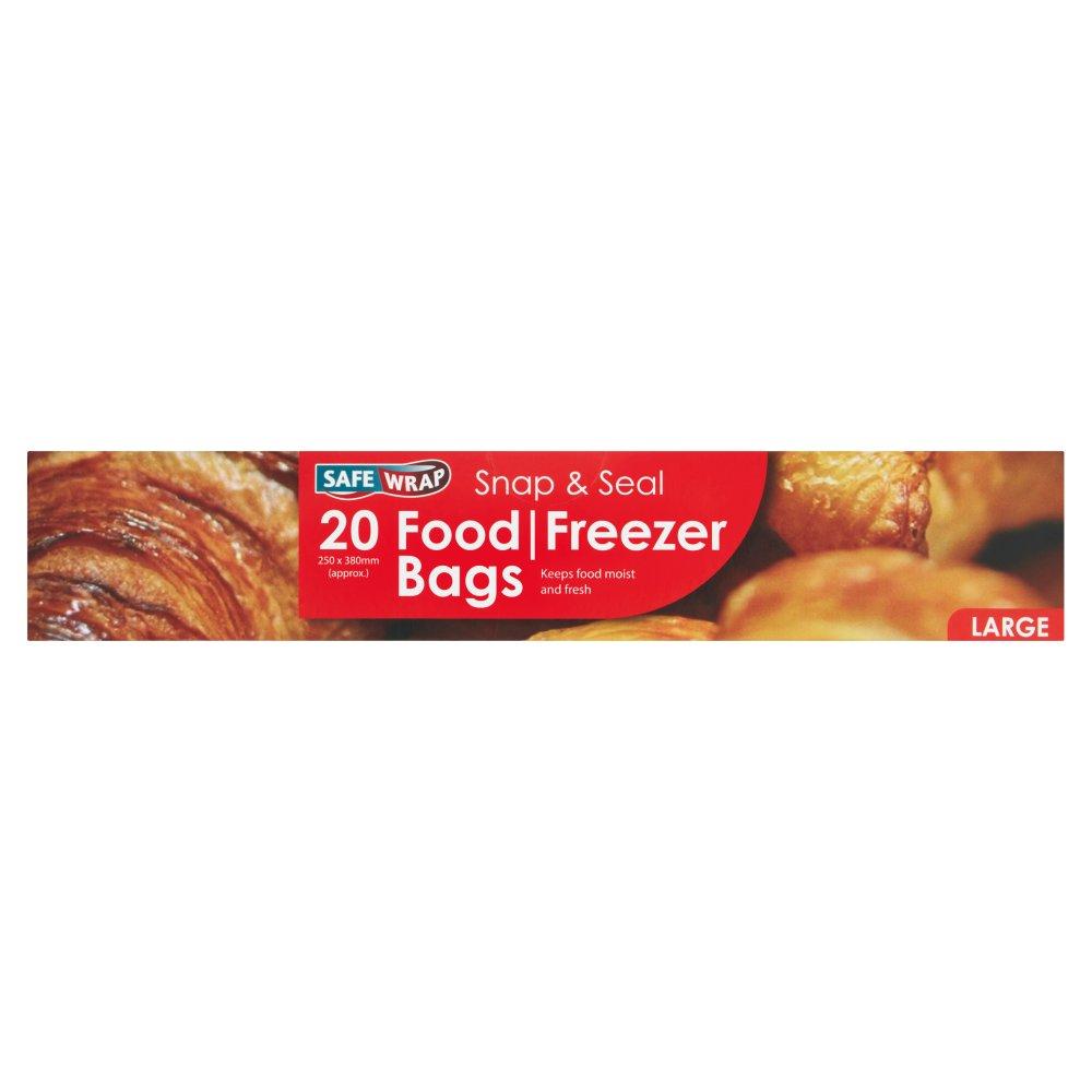 SafeWrap Snap \'n\' Seal 20 Food/Freezer Bags Large 250mm x 380mm ...