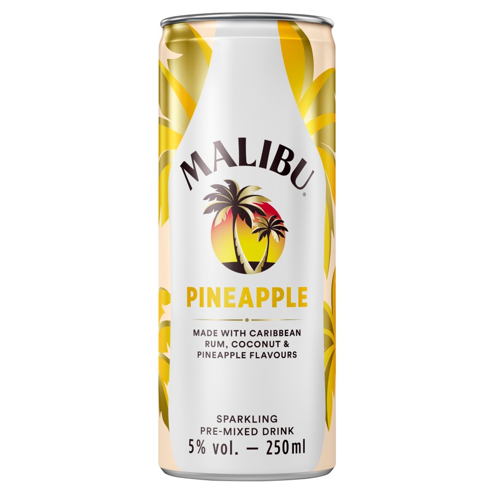 Malibu Pineapple Sparkling Pre-Mixed Drink 250ml