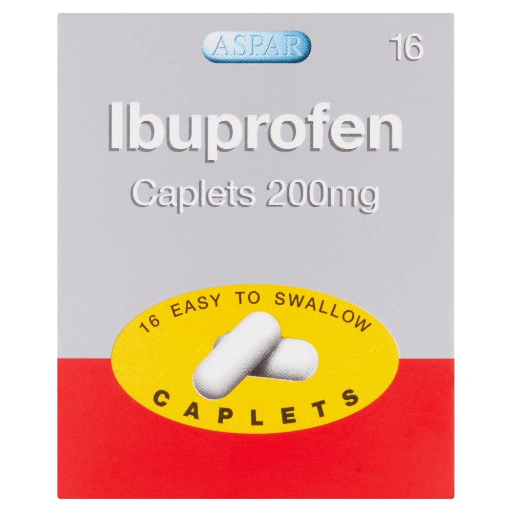 Aspar Ibuprofen Caplets 200mg 16 Easy to Swallow Caplets
