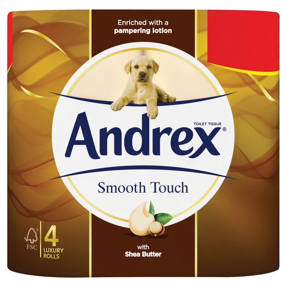 Andrex Smooth Touch Toilet Roll Tissue 4 Rolls