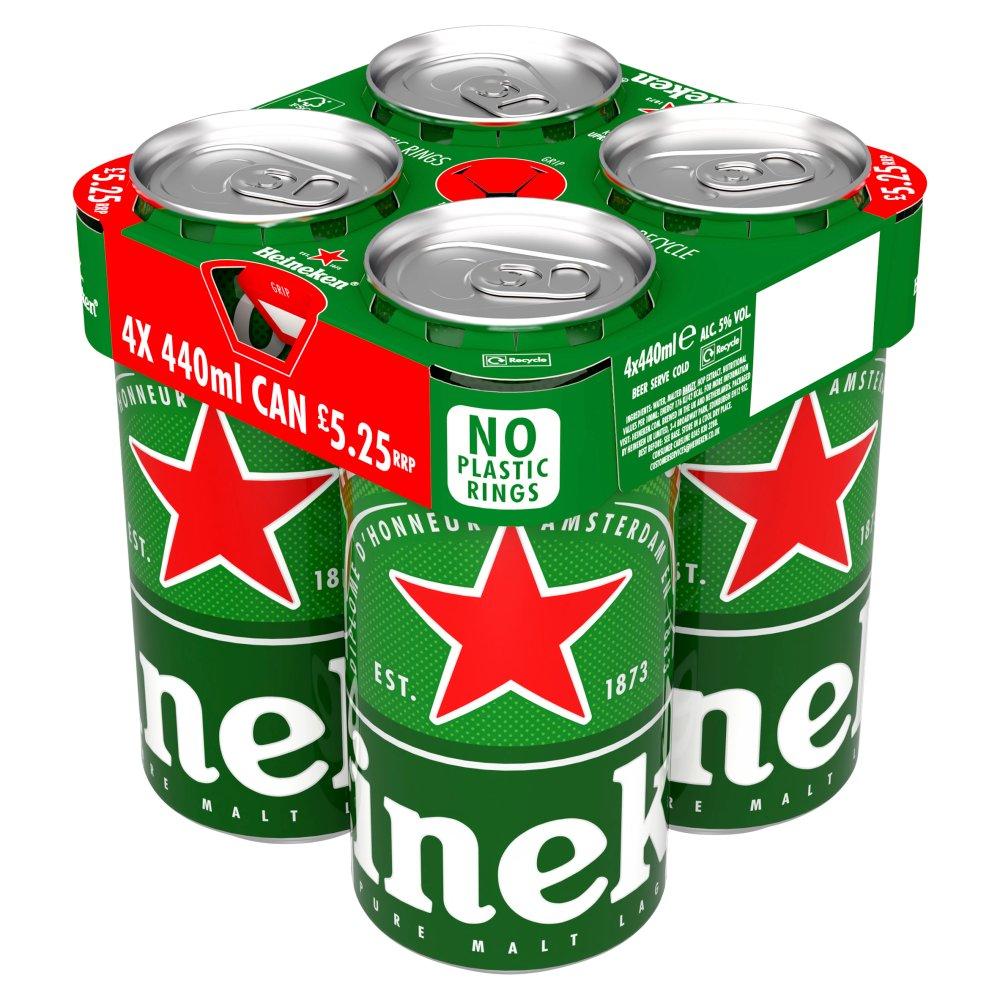 Heineken Lager Beer 4 x 440ml Cans