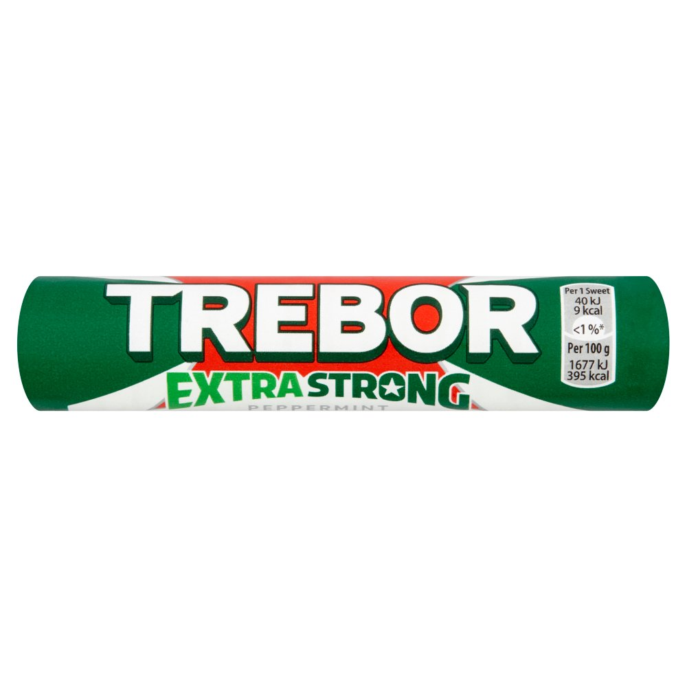 trebor extra strong peppermint mints roll 41 3g   bestway