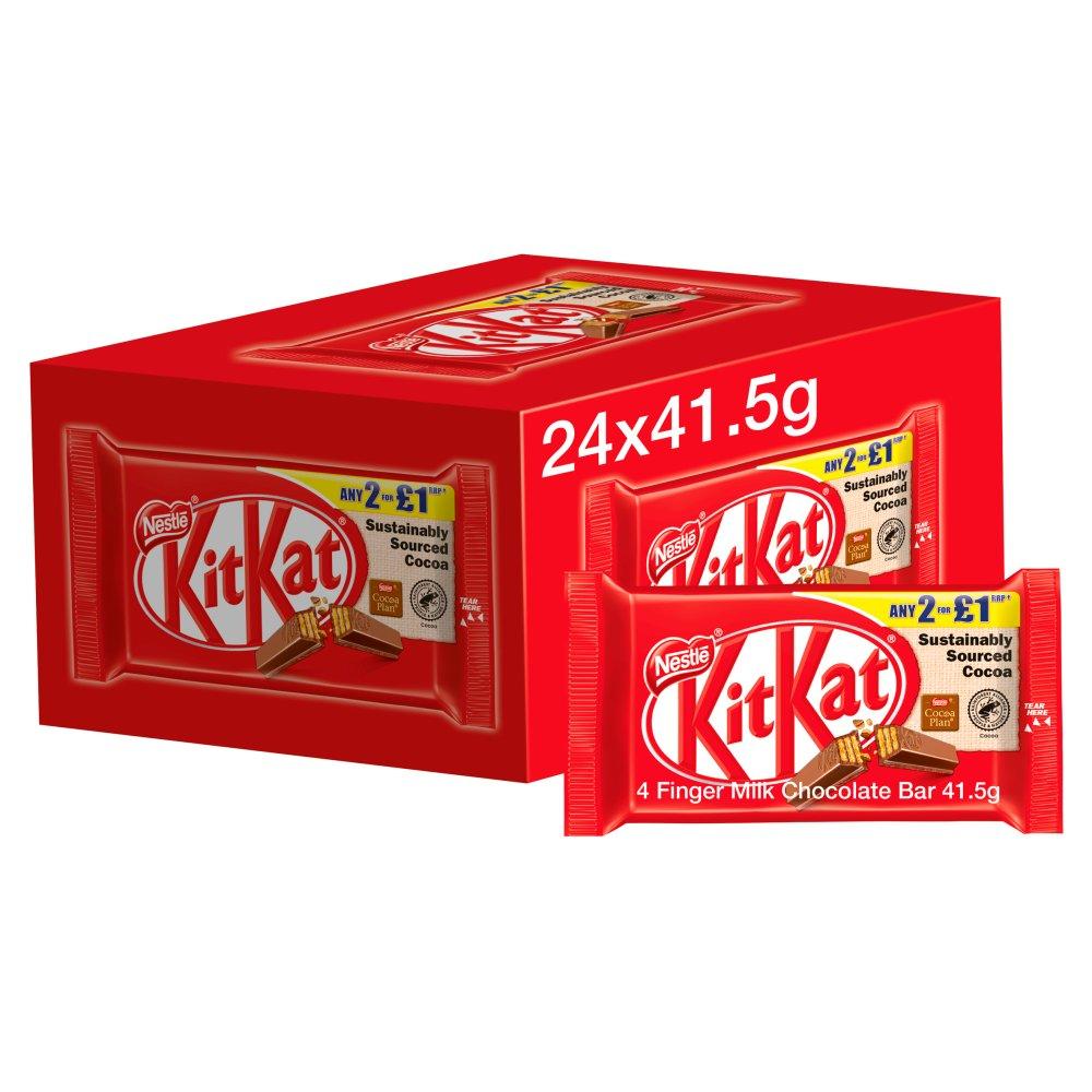 Kit Kat 4 Finger Milk Chocolate Bar 41.5g PMP 2 for £1