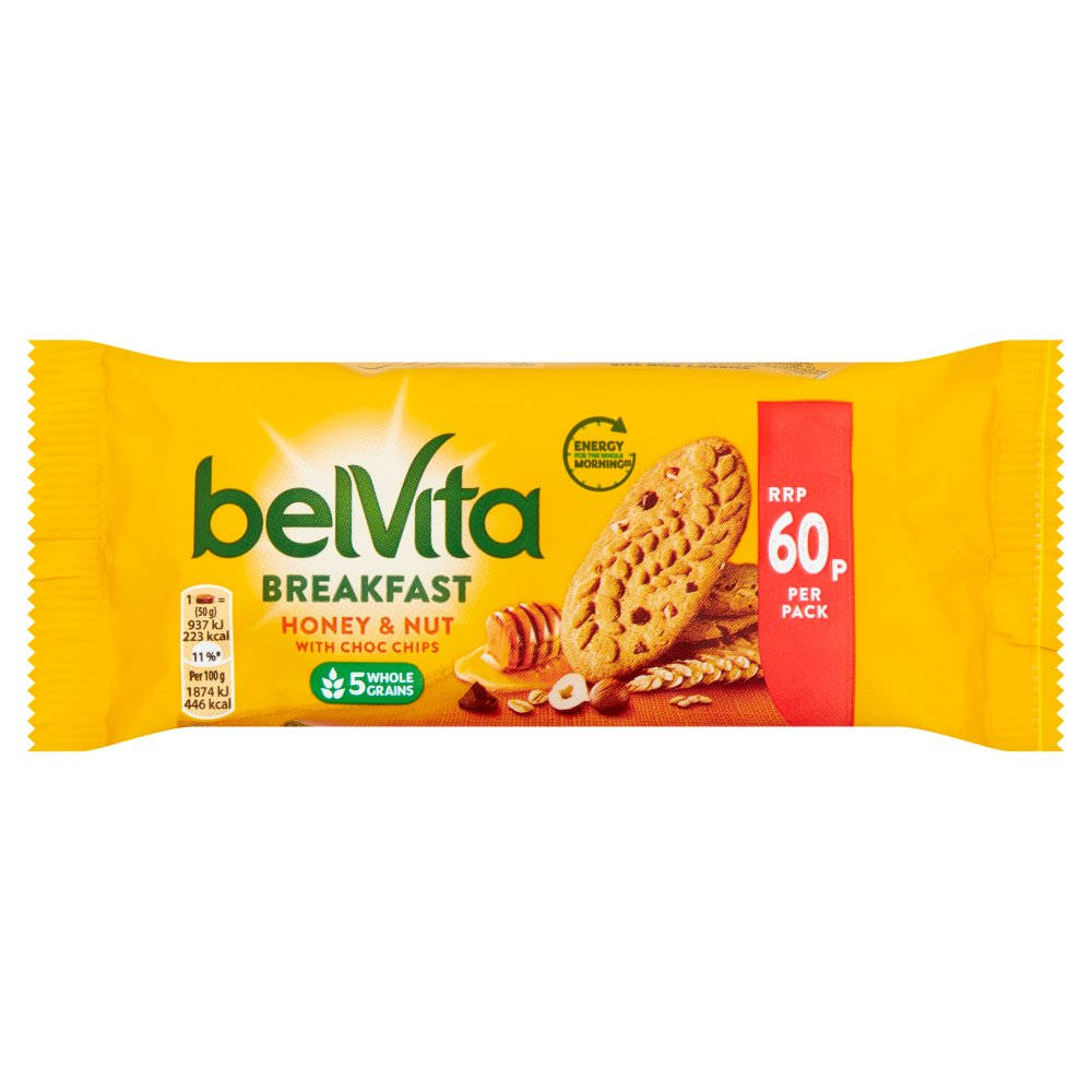 BelVita Breakfast Biscuits Honey and Nuts with Choc Chips 60p 50g