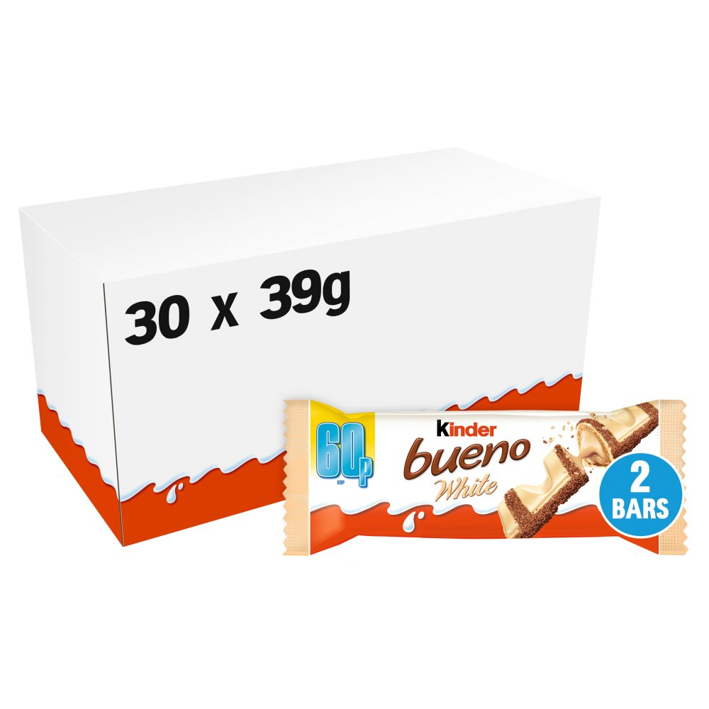 Kinder Bueno White Milk and Hazelnuts Single Bars PMP 39g