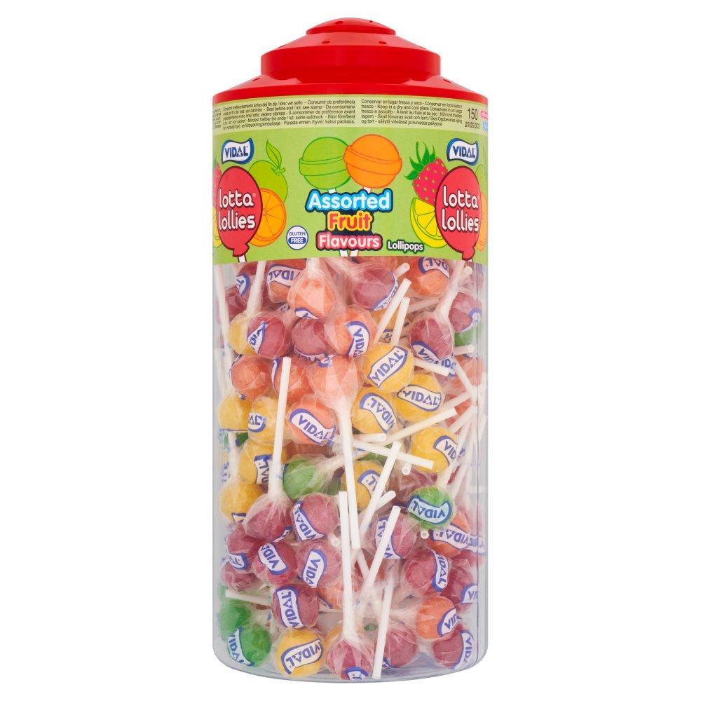 Vidal Lotta Lollies Assorted Fruit Lollipops 150 Pieces