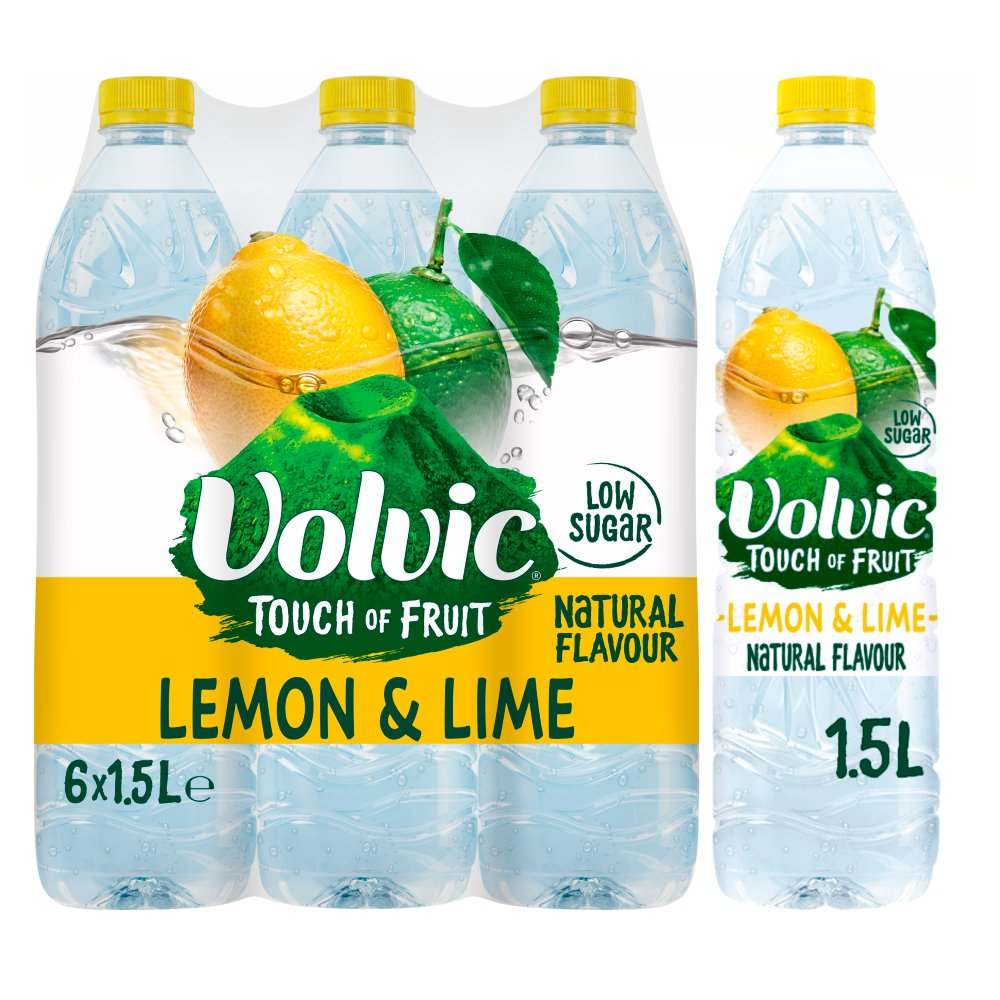 Volvic Touch of Fruit Low Sugar Lemon & Lime Natural Flavour 6 x 1.5L