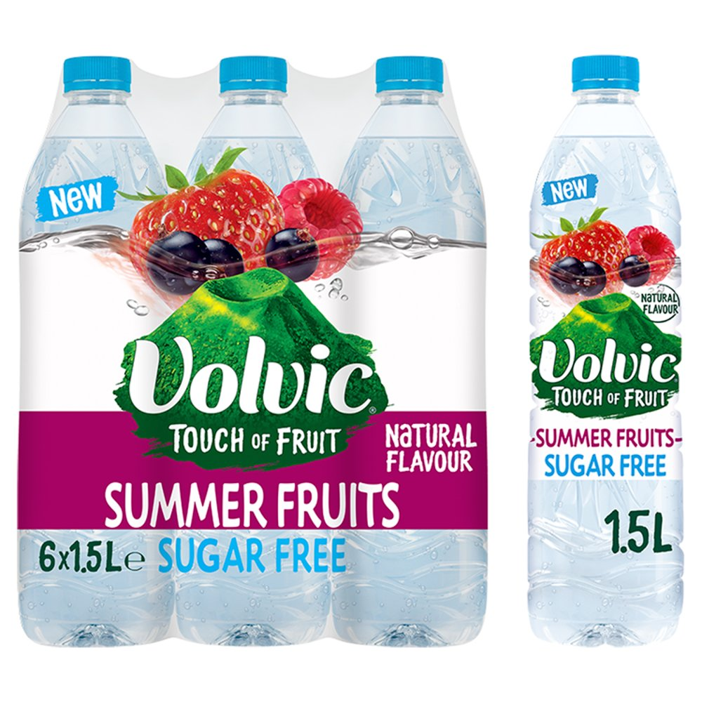 Volvic Touch of Fruit Sugar Free Summer Fruits Natural Flavoured Water 6 x 1.5L
