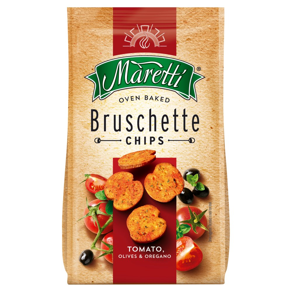 Maretti Oven Baked Bruschette Chips Tomato Olives and Oregano 70g