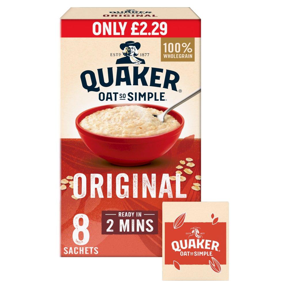 Quaker Oat So Simple Original Porridge Sachets £2.29 RRP PMP 8x27g