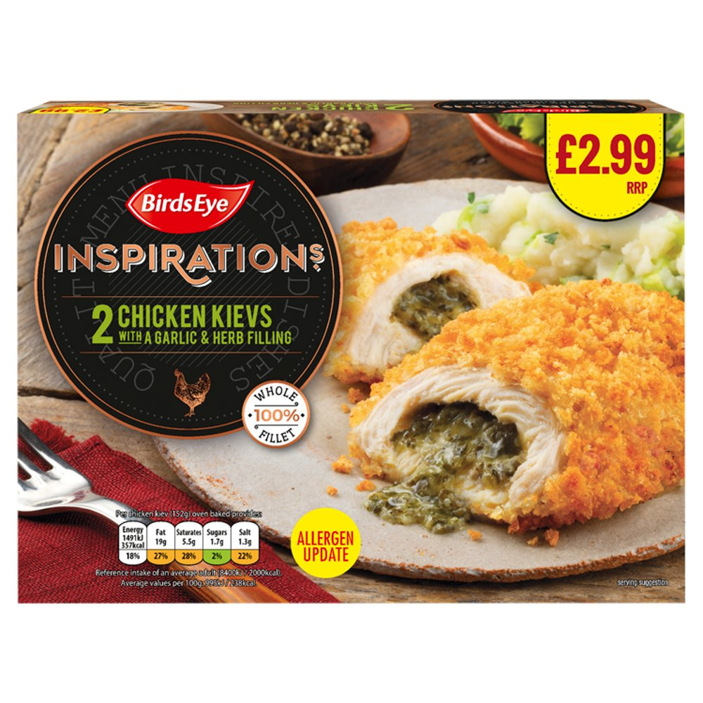 Birds Eye Inspirations 2 Chicken Kievs with a Garlic & Herb Filling 300g