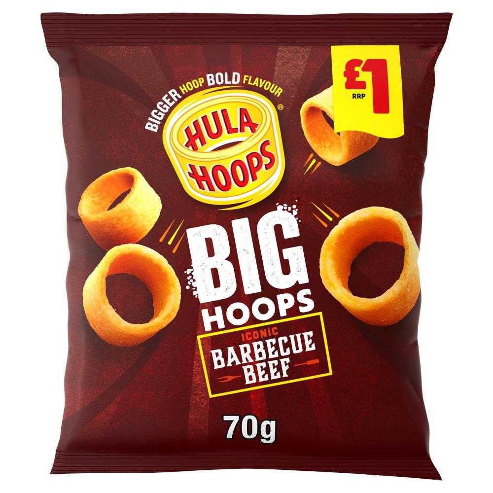 Hula Hoops Big Hoops BBQ Beef Crisps 70g £1 PMP