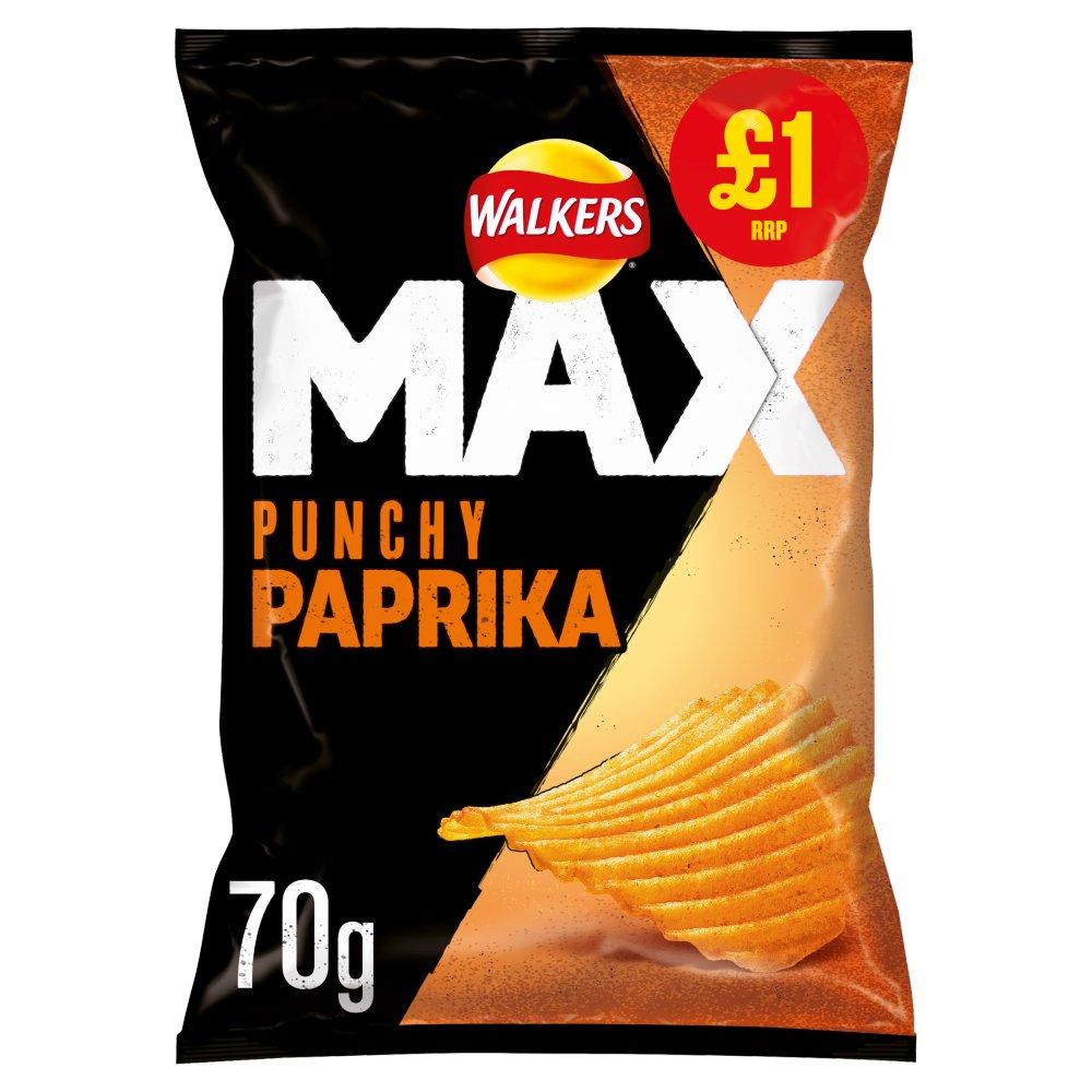 Walkers Max Punchy Paprika Crisps £1 PMP 70g
