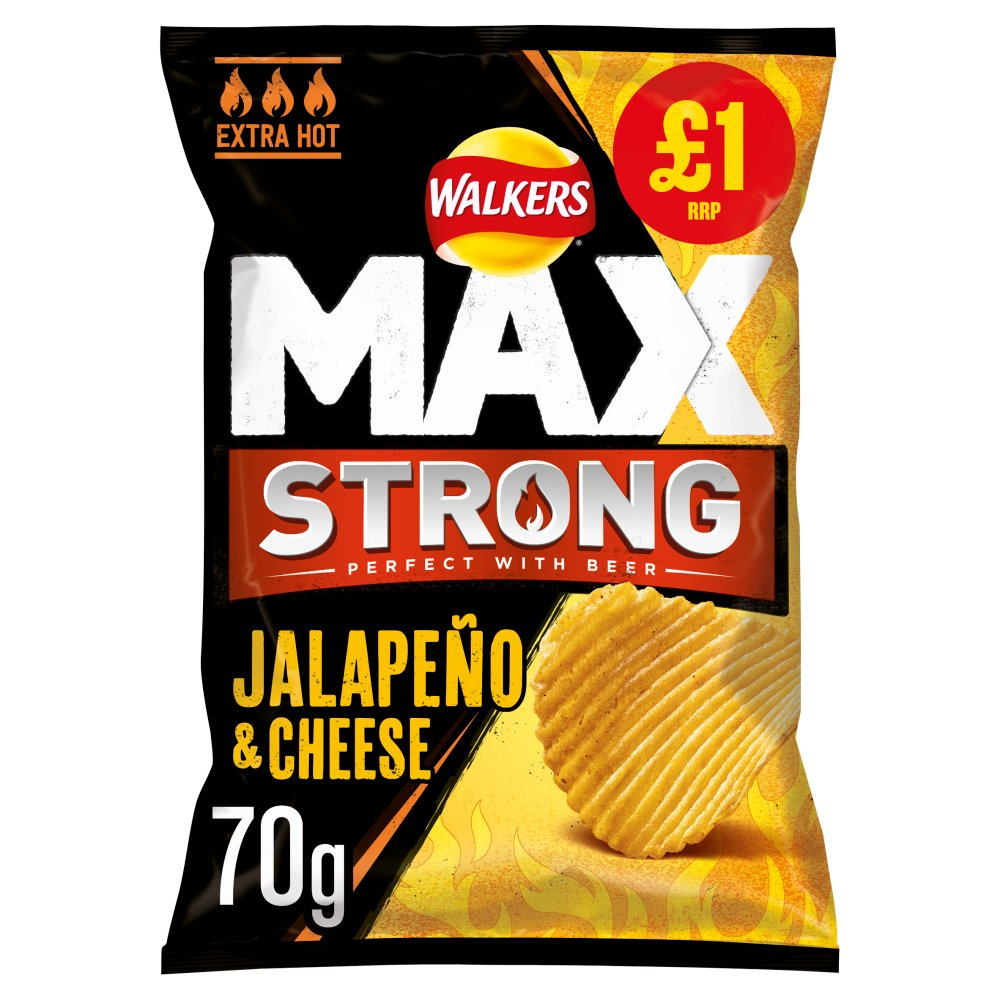Walkers Max Strong Jalapeño & Cheese Crisps £1 PMP 70g