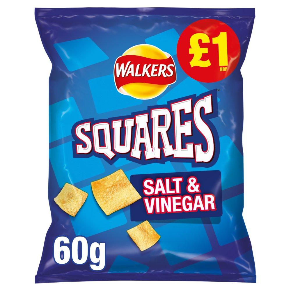 Walkers Squares Salt & Vinegar Snacks £1 PMP 60g