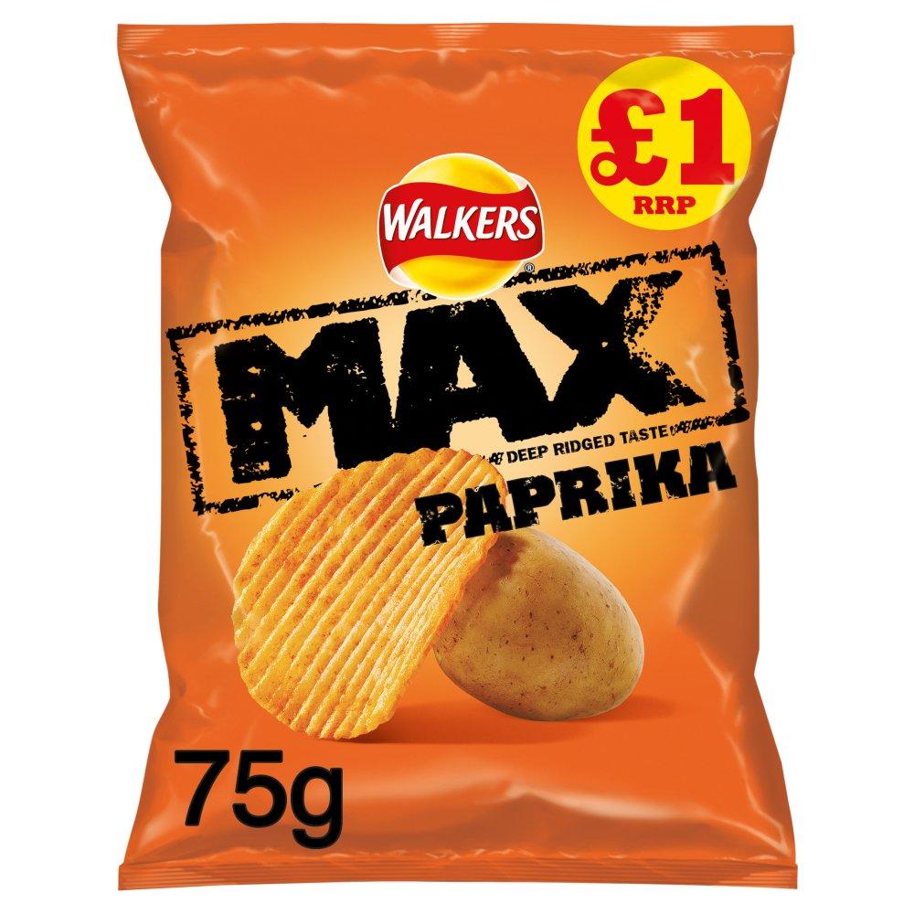 Walkers Max Paprika Crisps £1 PMP 75g