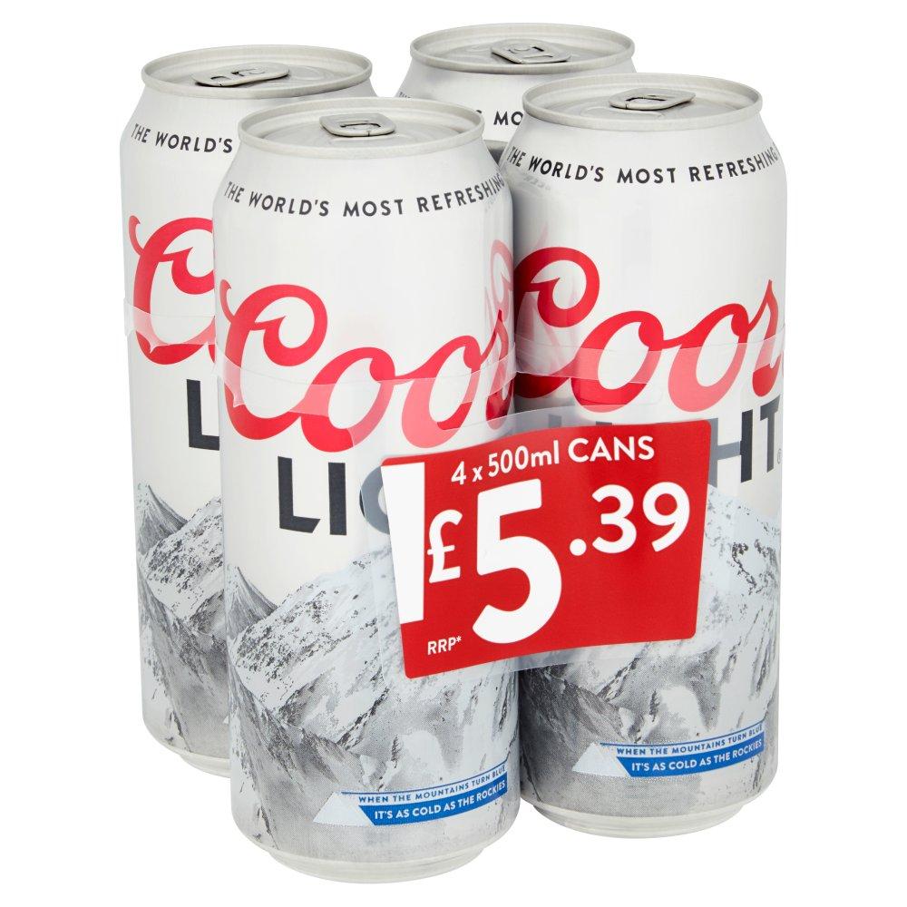 Coors Light Lager 4 x 500ml