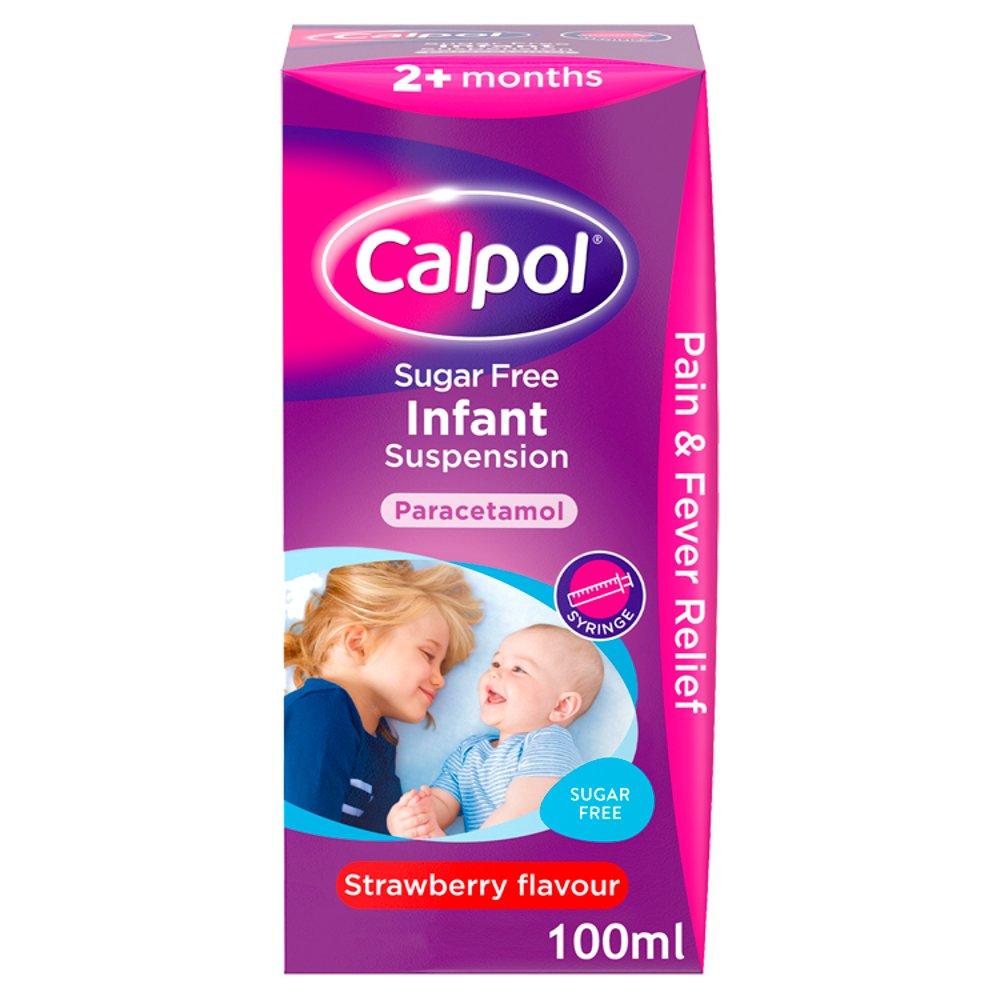 Calpol Sugar Free Infant Suspension, Paracetamol Medication, 2+ Months, Strawberry Flavour, 100ml