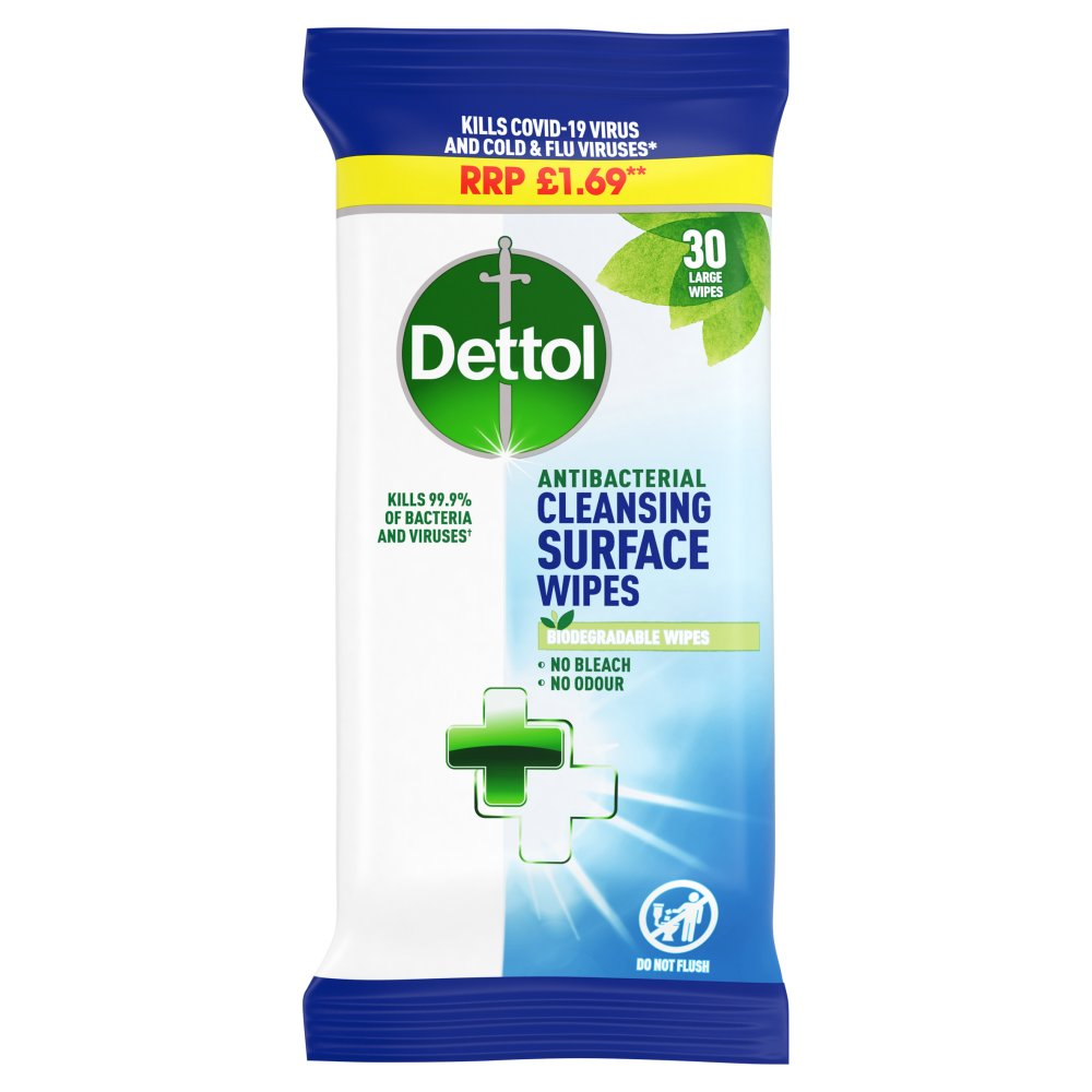 Dettol Antibacterial Cleansing Surface Wipes 30 Large Wipes