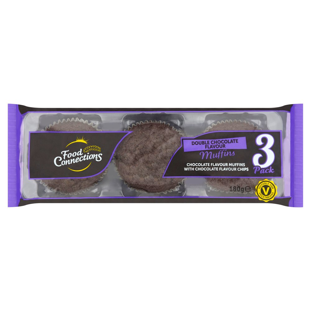 Food Connections 3 Double Chocolate Flavour Muffins 180g