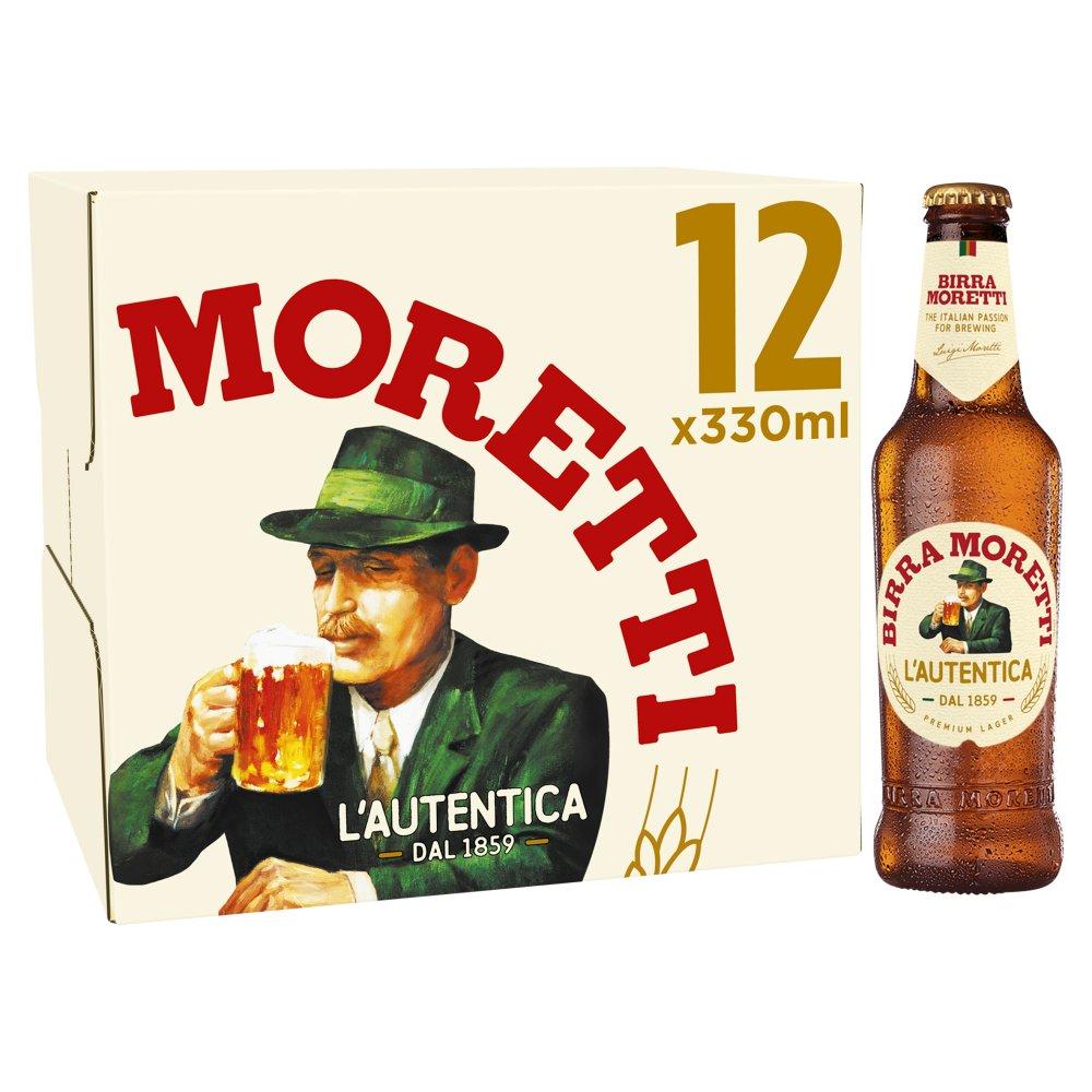 Birra Moretti Lager Beer 12 x 330ml Bottles