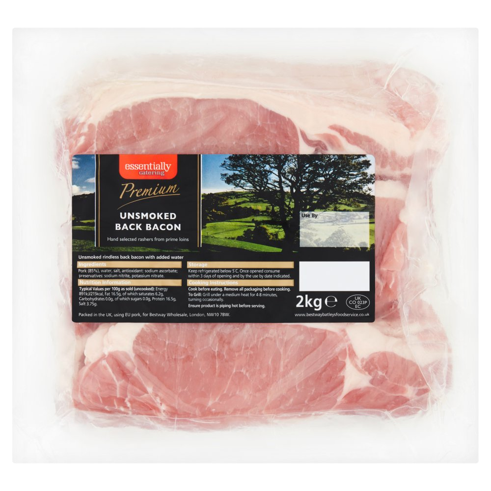 Essentially Catering Premium Unsmoked Back Bacon 2kg