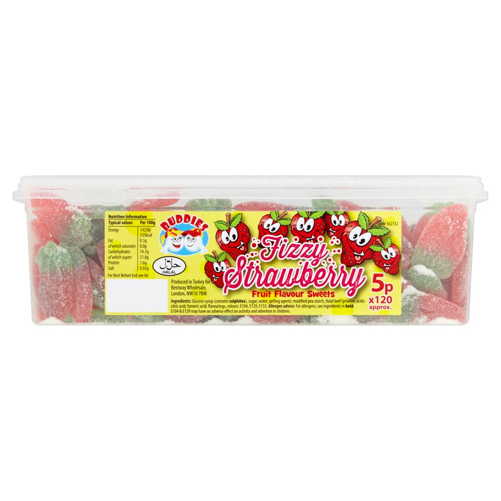 Buddies Fizzy Strawberry Fruit Flavour Sweets :: Bestway Wholesale