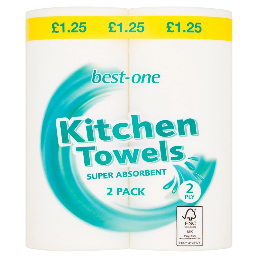 Best-One Kitchen Towels 2 Ply 2 Pack