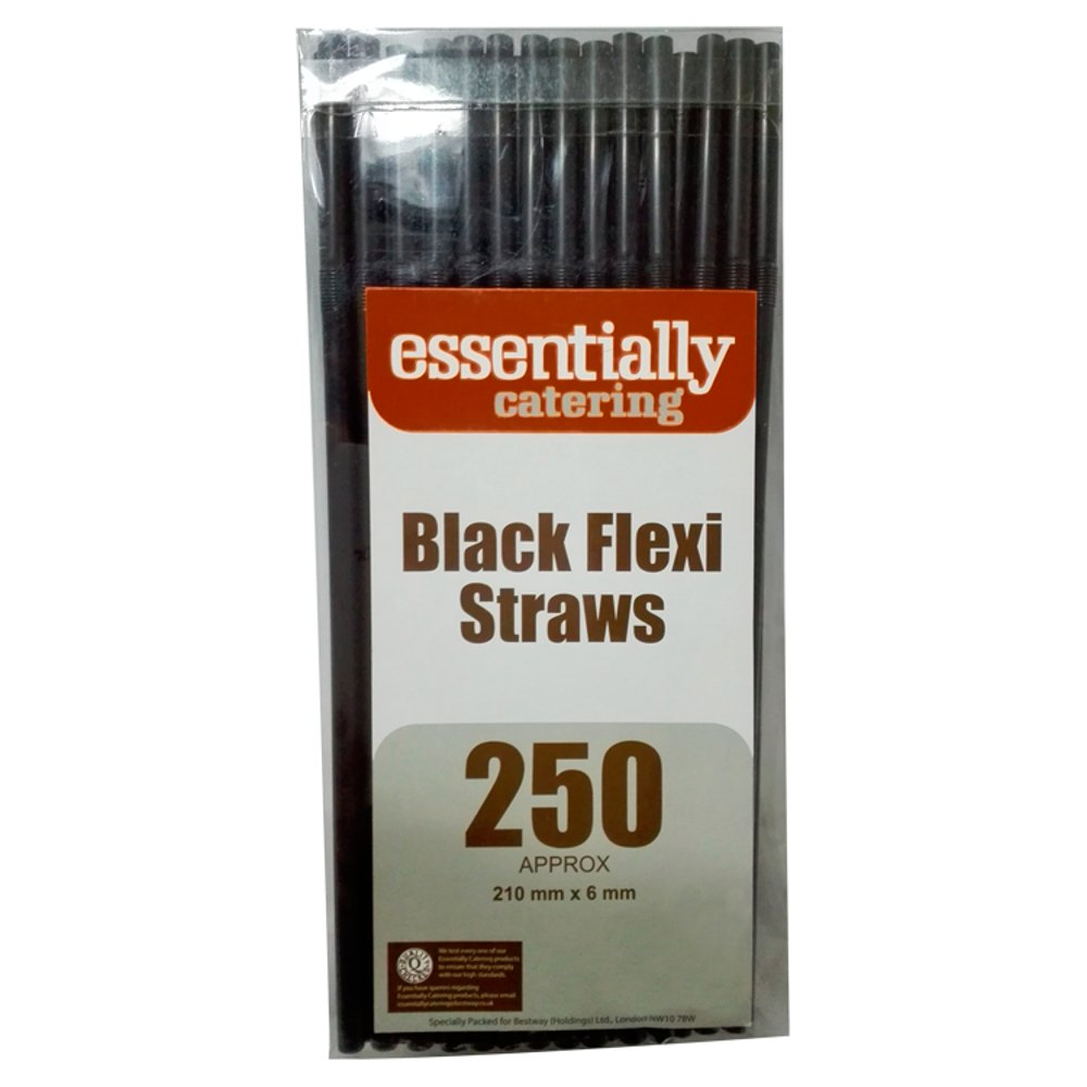 Essentially Catering Black Flexi Straws