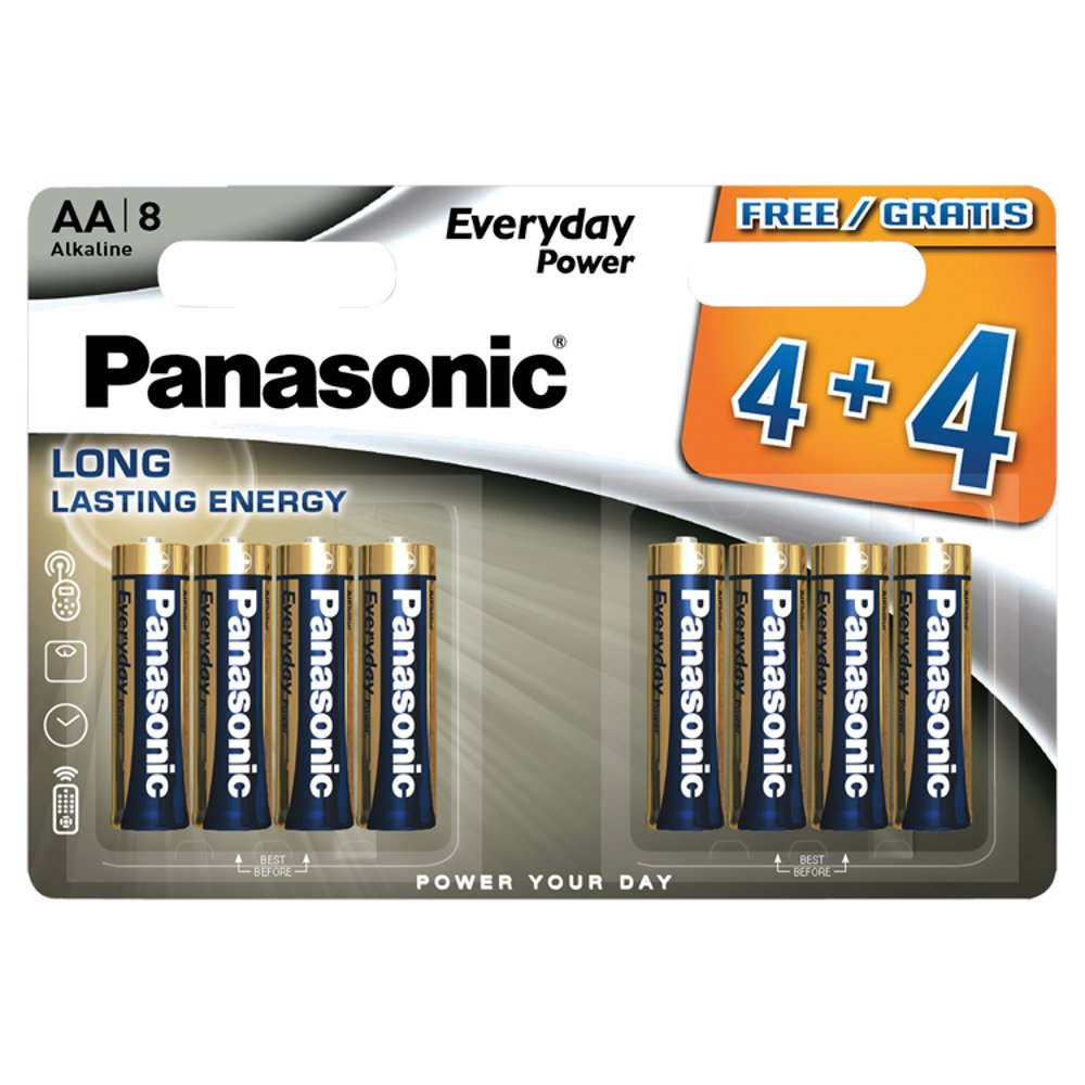 Panasonic Everyday Power AA Batteries Alkaline 8pk 4+4F