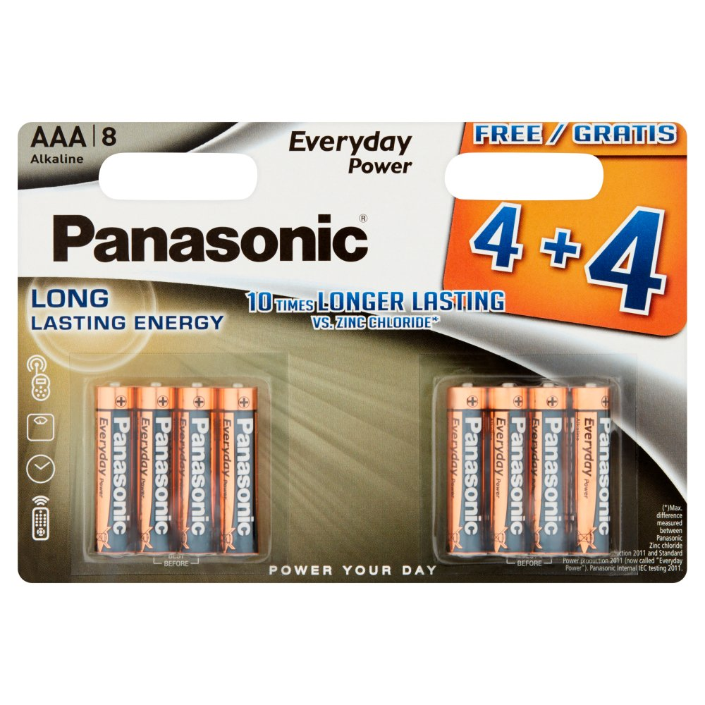 Panasonic Silver AAA Lr03 Batteries 4+4