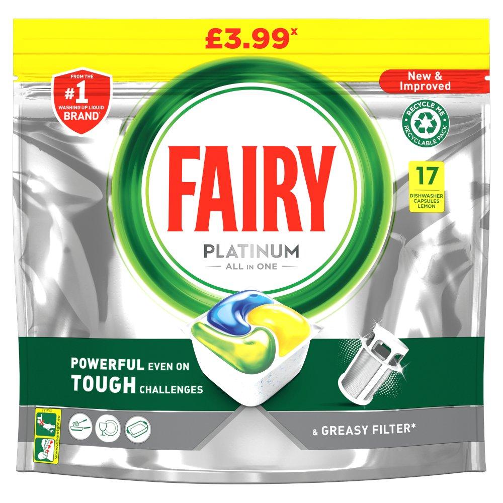 Fairy Platinum Dishwasher Tablets Lemon 17 per pack