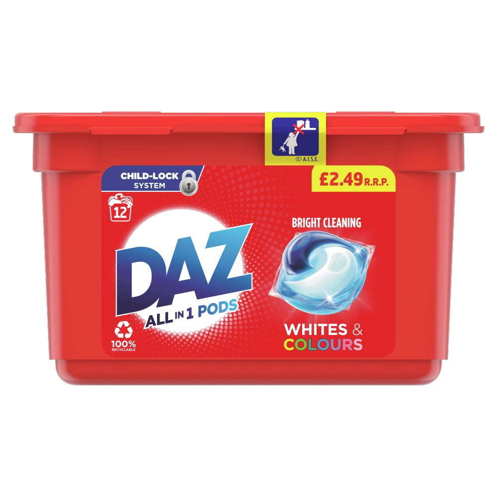 Daz ALL in 1 PODs Washing Capsules Whites & Colours 12 Washes