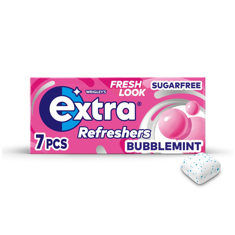 Extra Refreshers Bubblemint Sugar Free Chewing Gum Handy Box 7pcs