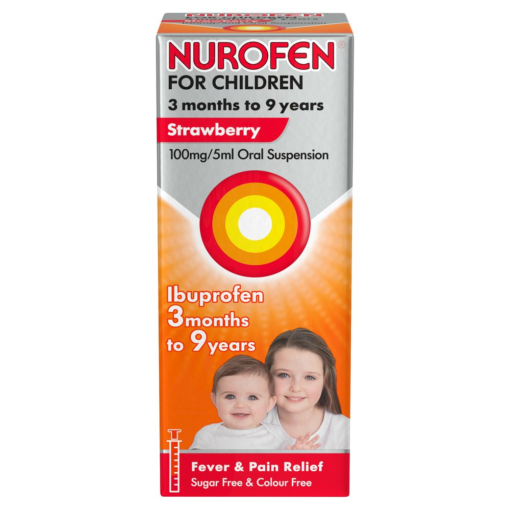 Nurofen for Children, Ibuprofen Liquid Max 9 Years, Strawberry, 100ml