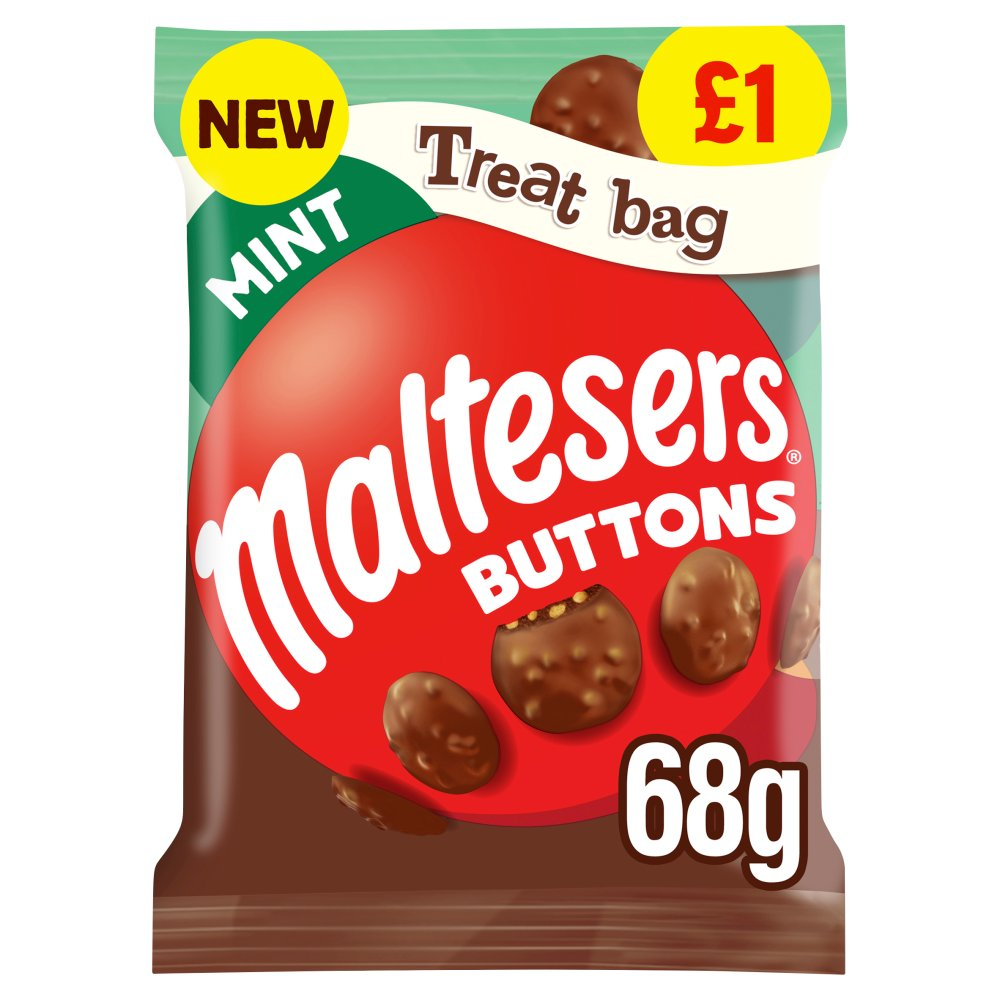 Maltesers Buttons Mint Chocolate Price Marked Treat Bag 68g