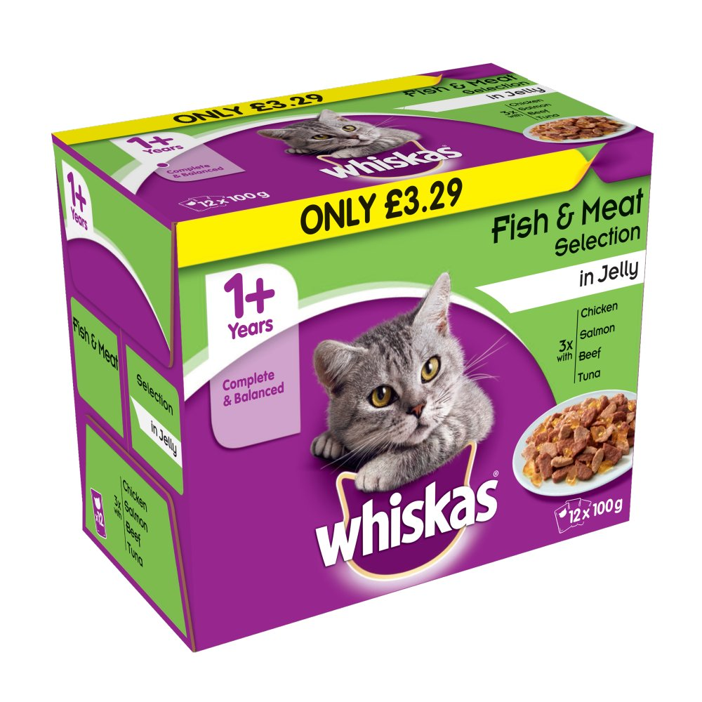 Whiskas Pouch Fish & Meat 12pack £3.29