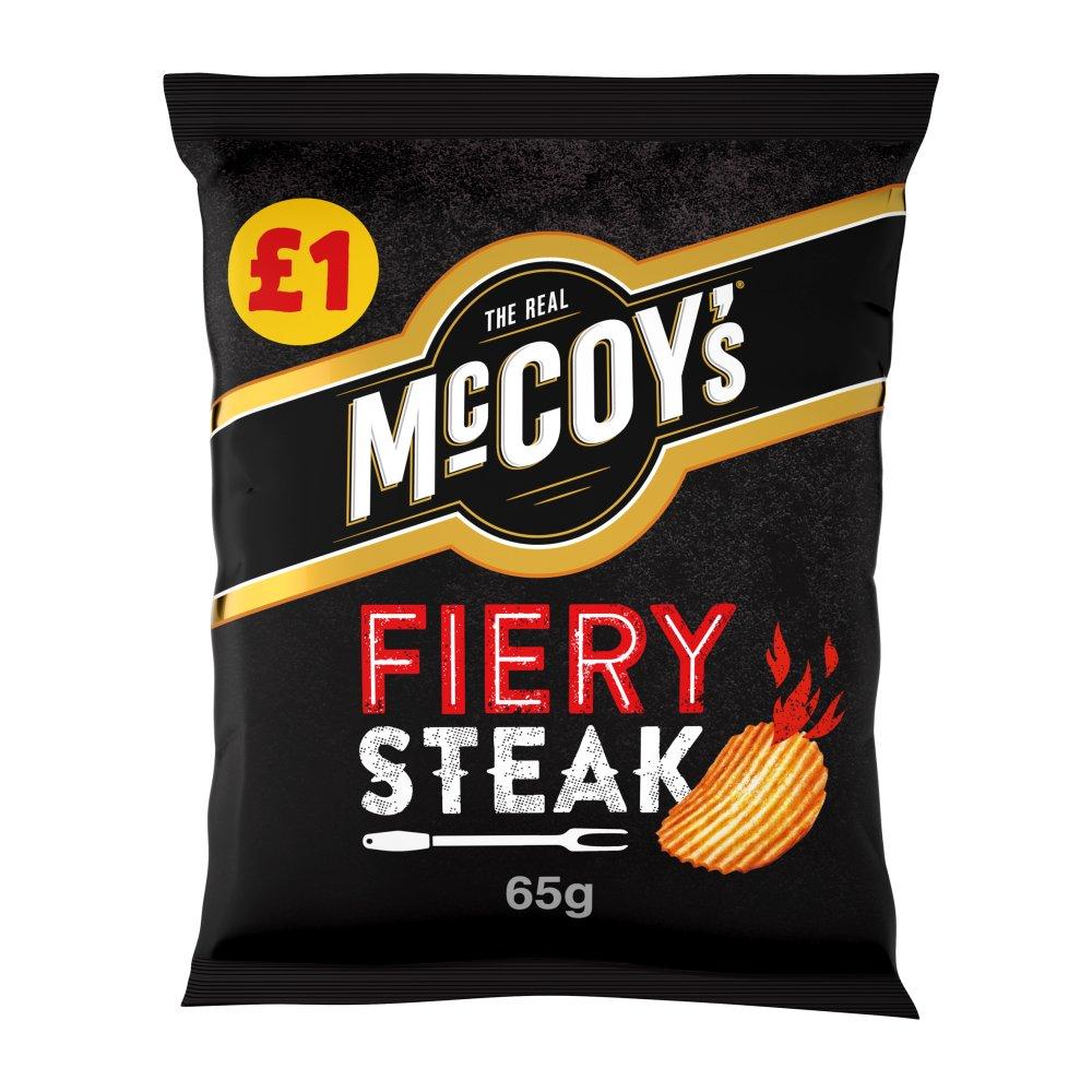 McCoy's Fiery Steak Flavour Ridge Cut Potato Crisps 65g