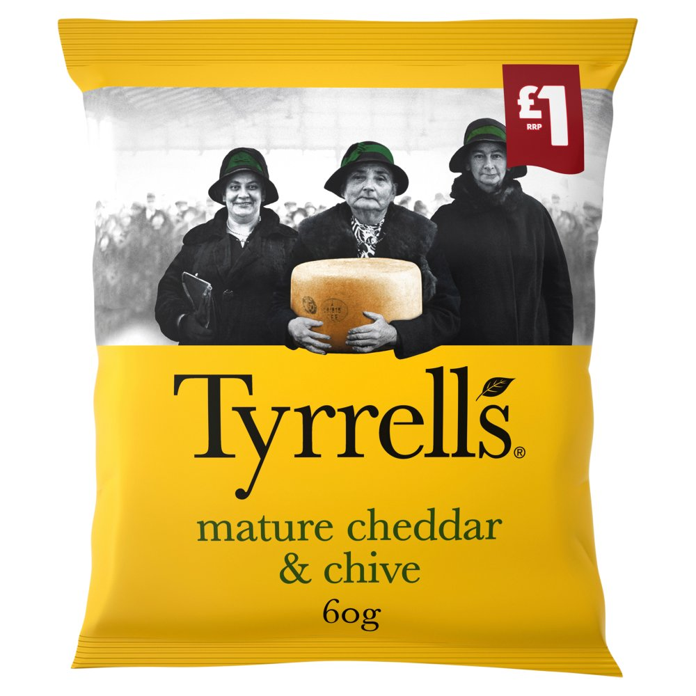 Tyrrells Mature Cheddar and Chive Crisps 60g, £1 PMP