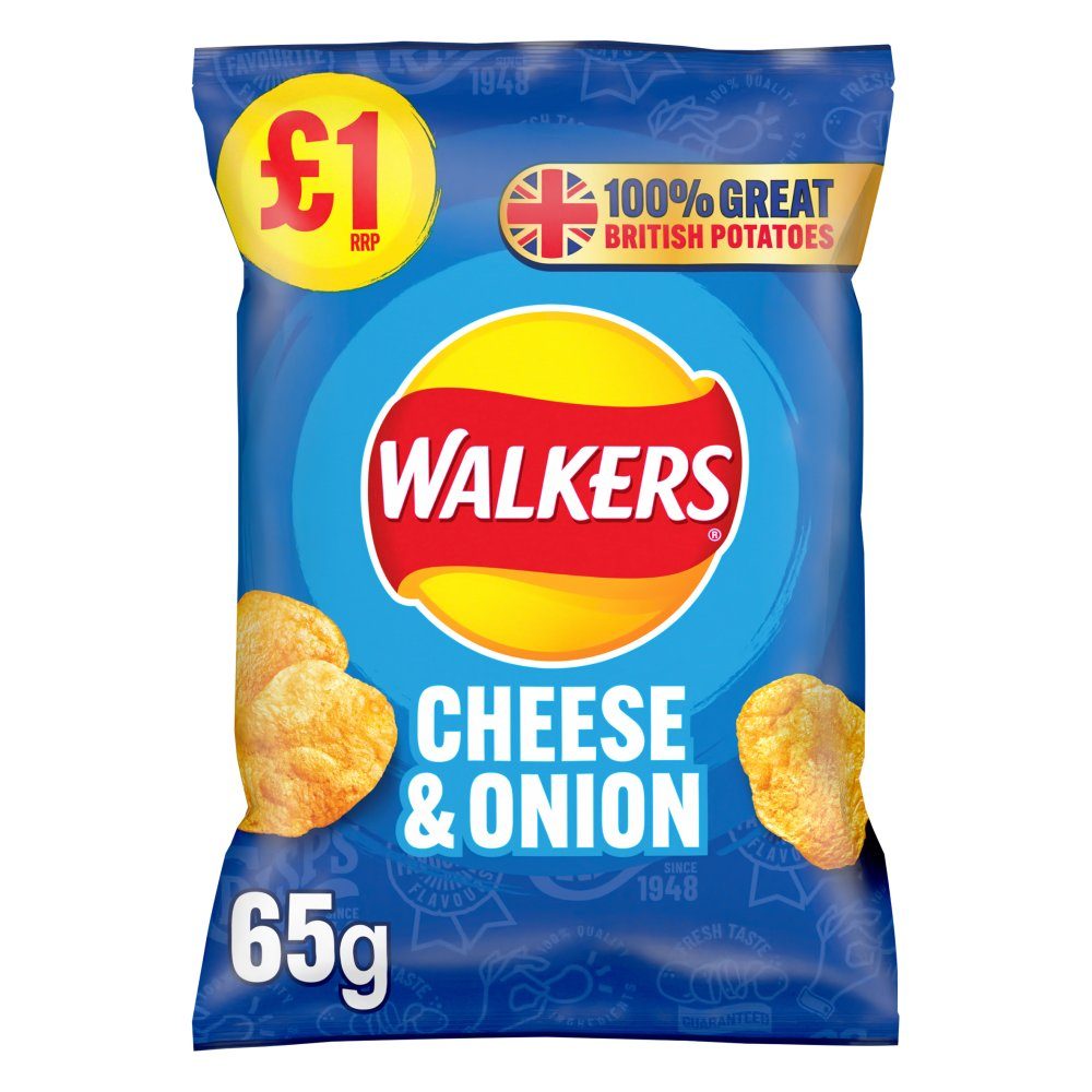 Walkers Cheese & Onion Crisps £1 PMP 65g