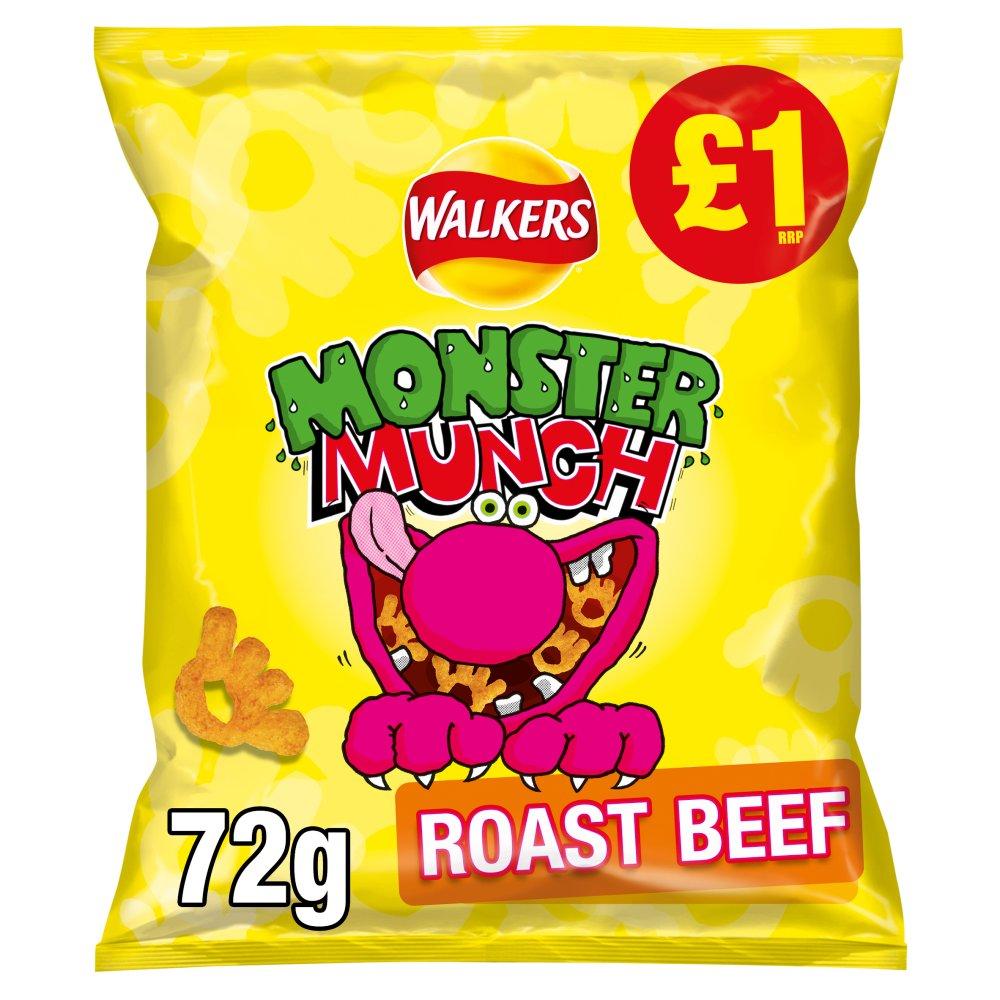 Walkers Monster Munch Roast Beef Snacks £1 RRP PMP 72g