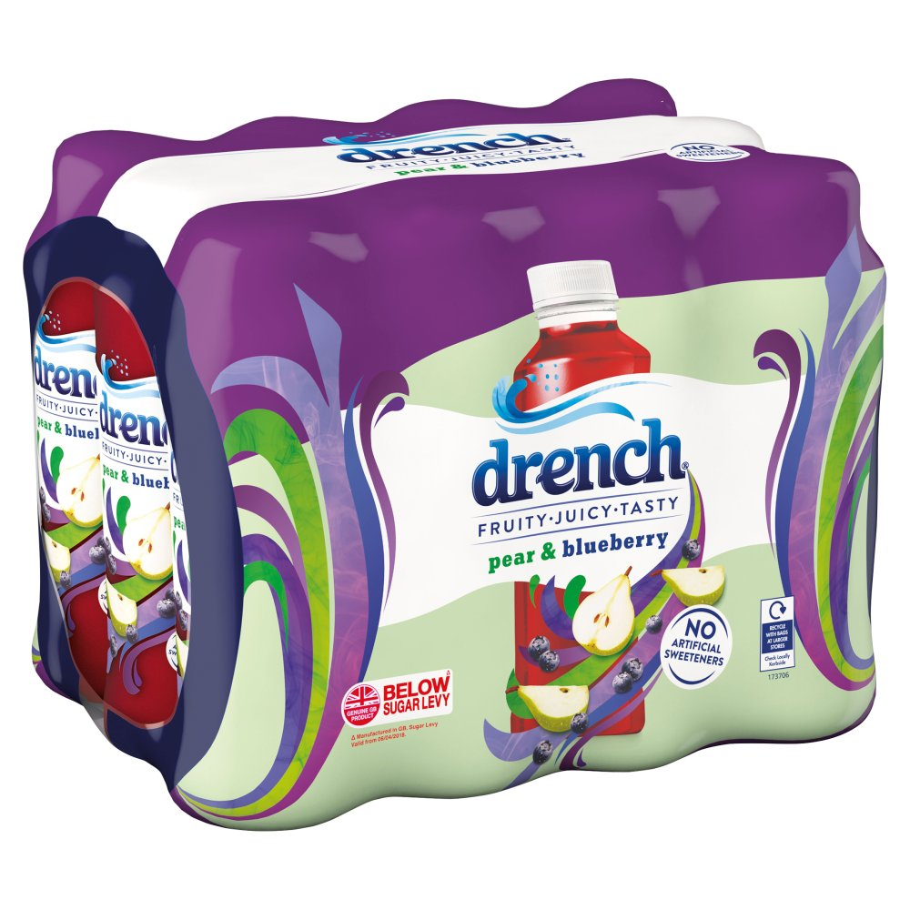 Drench Juicy Spring Water Pear & Blueberry 12 x 500ml